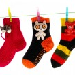 Cute Socks Hanging on a Clothes Line - Stock Photo