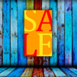 Sale Sign on Wood Background — Stock Photo