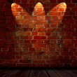 Brick Wall with Spotlights — 图库照片