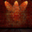 Brick Wall with Spotlights - Stock Photo