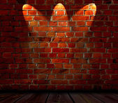 Brick Wall with Spotlights — Stok fotoğraf
