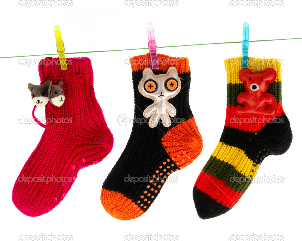 Cute Socks Hanging on a Clothes Line — Stock Photo #1155987