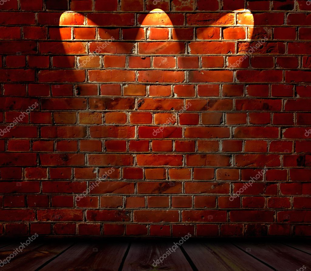 An empty room with a spotlit red brick wall was a background   Foto de Stock   #1158352