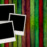 Blank Photos On Wooden Background — Stock Photo