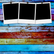 Stock Photo: Blank Photos on Wood Background