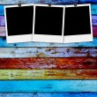 Blank Photos on Wood Background — Stock Photo