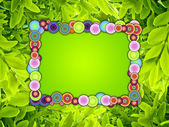 Spring Frame on Green Background — Stock Photo