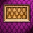 Carved Gilded Frame on Vintage Wallpaper — Stok Fotoğraf #1170704