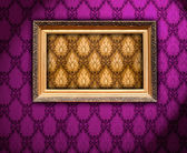 Carved Gilded Frame on Vintage Wallpaper — Stok fotoğraf