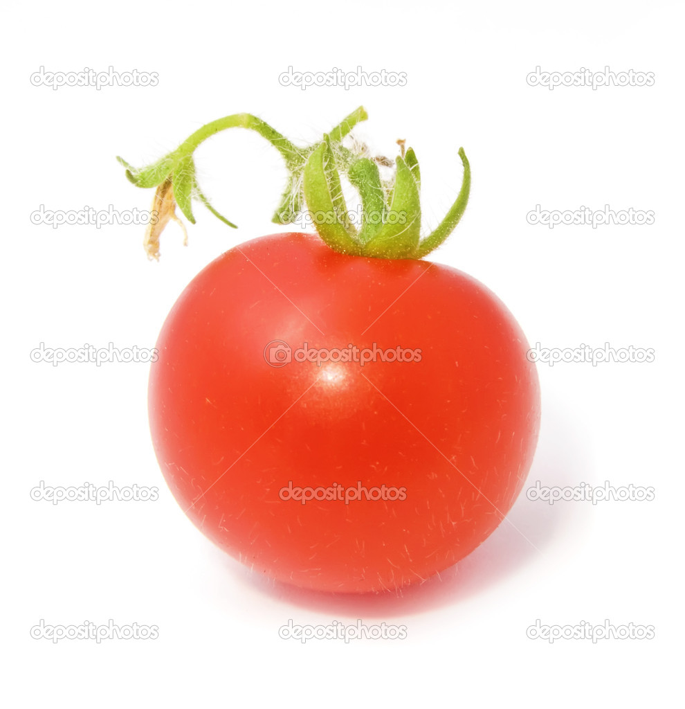 A ripe red cherry tomato isolated on white background — Stock Photo #1351546