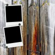 Royalty-Free Stock Photo: Two Blank Photos on Wood Background