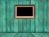 Yeşil oda boş oyma yaldızlı çerçeve — Stok fotoğraf