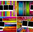 Set of Blank Photos on Wood Backgrounds - Foto de Stock