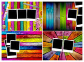 Set of Blank Photos on Wood Backgrounds — Stock Photo