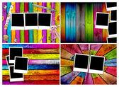 Set of Blank Photos on Wood Backgrounds — Stock Photo