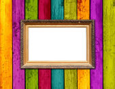 Blank Frame on Colorful Wood Background — Stock Photo