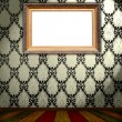 Stock Photo: Blank Frame on Vintage Wallpaper