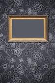 Blank Frame on Decorative Wallpaper — Stock Photo