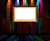 Blank Frame in Dark Empty Room — Zdjęcie stockowe