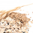 Oat Grains and Oat Flakes - Stock Photo
