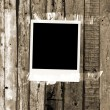 Blank Photo on Vintage Wood Background — Stock Photo