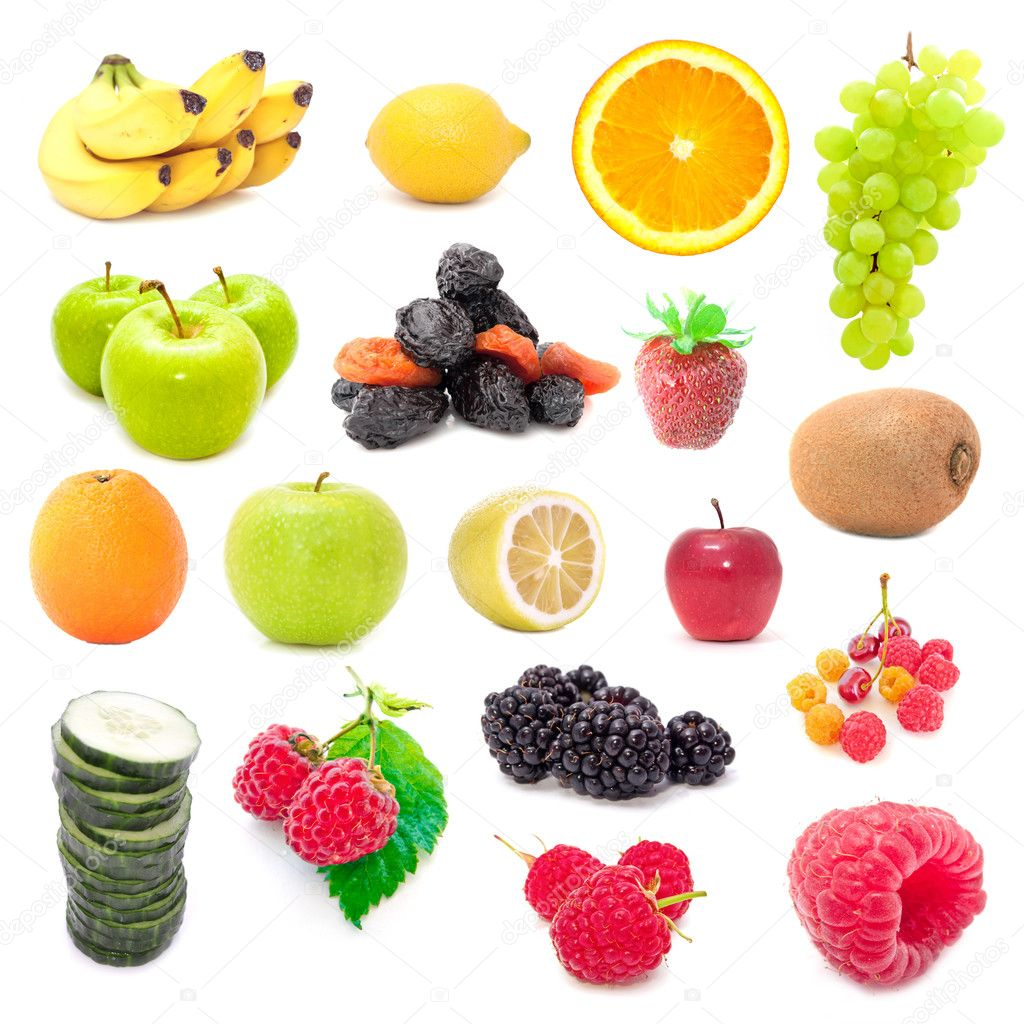 A set of assorted fruits, berries and vegetables isolated on a white background — Stock Photo #2413873
