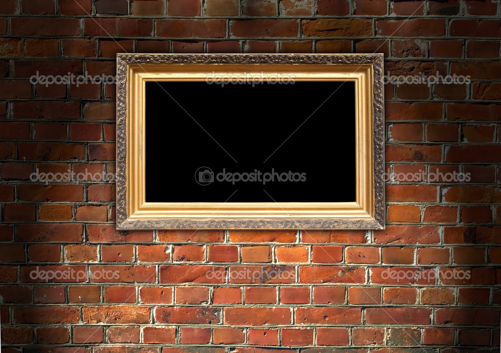 A vintage picture frame on a red brick wall — 图库照片 #2414973