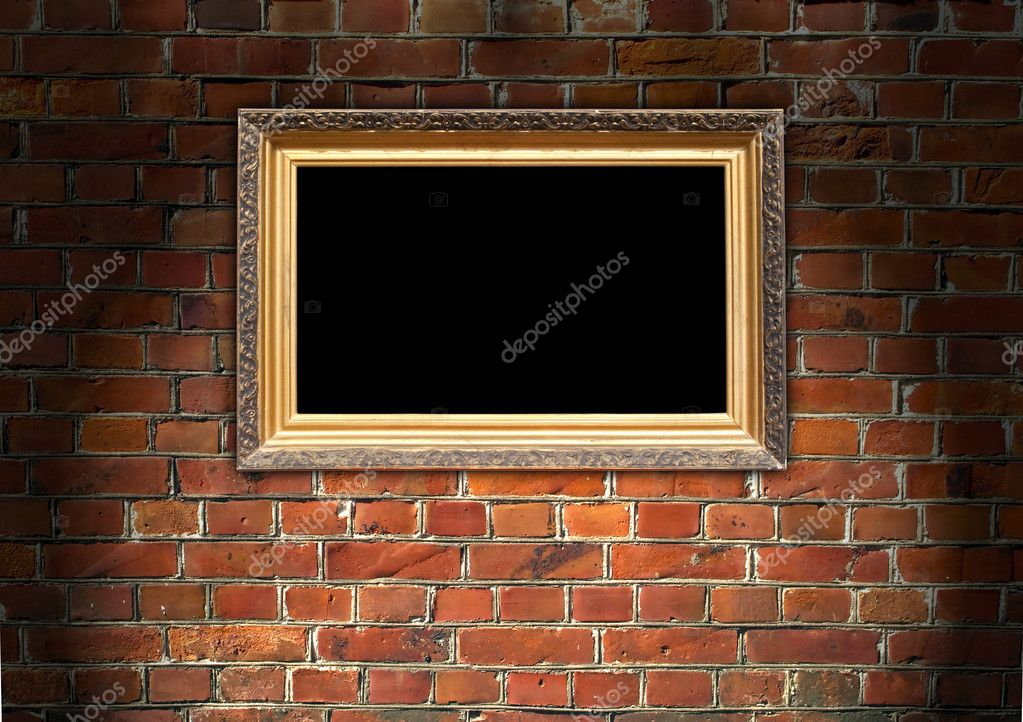 A vintage picture frame on a red brick wall  Foto Stock #2414973