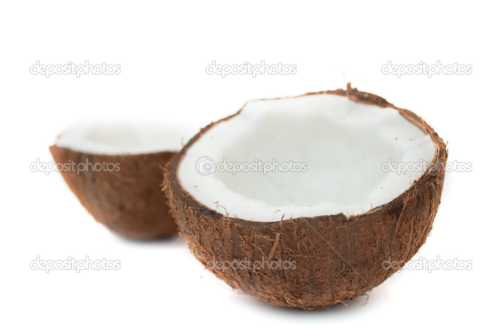 Two halves of a coconut isolated on a white background  Stock Photo #2556823