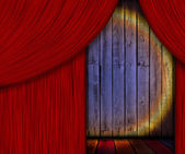 Wooden Stage Behind Red Curtain — Stock Photo