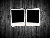 Two Blank Photos on Wood Background — Stock Photo