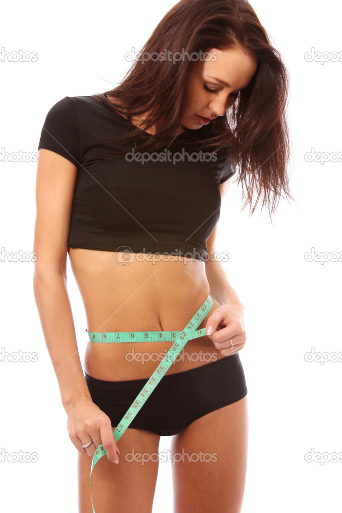 Woman measuring perfect shape of beautiful thigh — Stock Photo #1175010