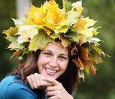 Autumn beauty woman — Stok fotoğraf