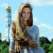 Young woman tourist in Moscow - Stock Photo