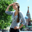 Woman tourist in Moscow (Russia) — Stock Photo