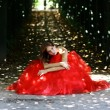 Lady in Red dress - Foto de Stock