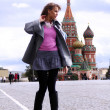 Woman next in Red Square - Stock Photo
