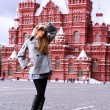 Beautiful young woman next in Red Square, Moscow — Stock Photo