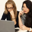 Two young women warking in office — Stock Photo