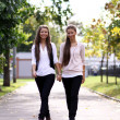 Fashionable girls twins walk — Stock Photo