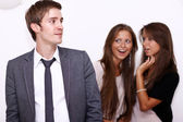 Two girls and one young man — Stock Photo