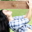 Beautiful woman summer in park — Stock Photo