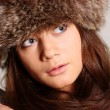 Stock Photo: Womin furry hat