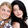 Blonde against the brunette — Stock Photo