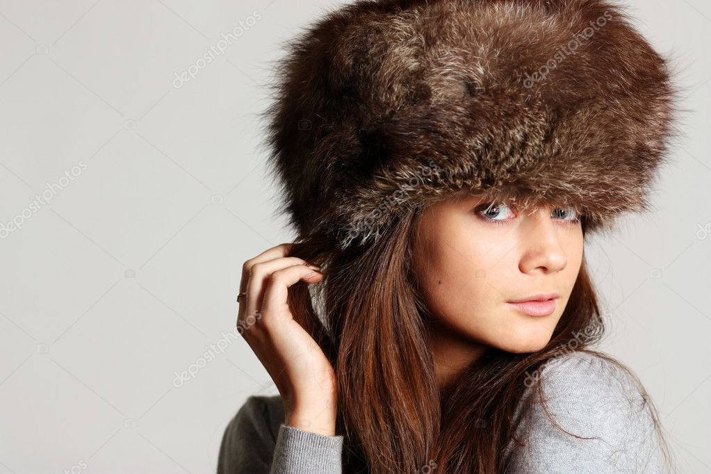 Woman in a furry hat   Stock Photo #2487025