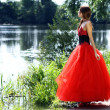 Dame en robe rouge — Photo