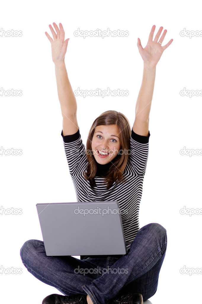Girl working on a laptop — Stock Photo #2495749