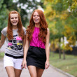 Stock Photo: Portrait of girls walking on the street