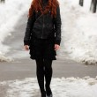 Beautiful young woman in winter park — Stock Photo #2512320