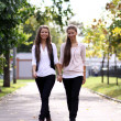 Fashionable girls twins walking — Stock Photo